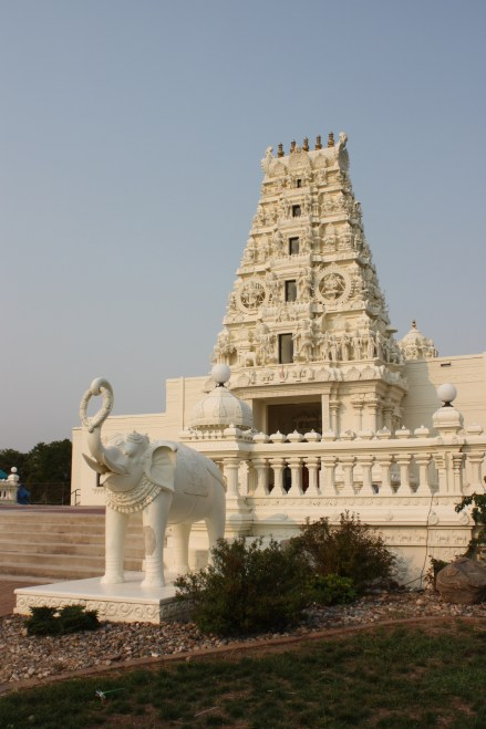 Hindu Temple with elephant statue in front