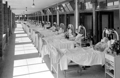 This solarium at Waverly Hills shows TB patients taking the fresh air treatments that were thought to be beneficial for their illness. (Waverly Hills photo)