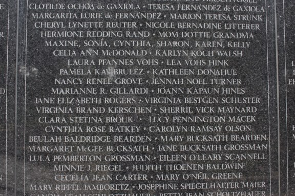 The Mothers' Wall of Life is engraved with the names of mothers from around the world. (Lori Erickson photo)