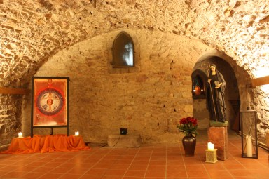 The Scivias Institute for Art and Spirituality sponsors workshops and gatherings in the underground vaults where Hildegard's abbey once stood. (Bob Sessions photo)