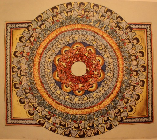 Hildegard's mandela-like vision of choruses of angels surrounding God, who is depicted as a white space, signifying that the divine cannot be captured by an image