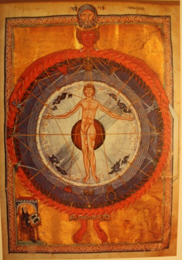 "Hildegard's vision of the ""Universal Man"" (note that she includes herself in the corner)"