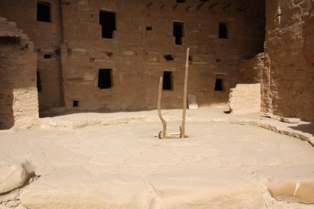The kiva is entered through a ladder placed in a small opening in the roof (Bob Sessions photo).