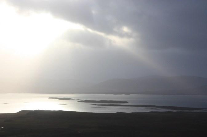 Sunlight over bay in Iceland