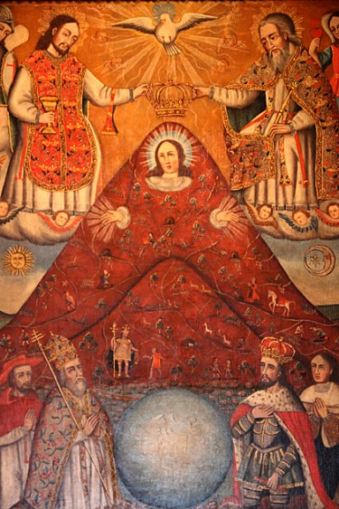 La Pachamama del Cerro Rico, which depicts the Virgin Mary as a mountain, shows the blending of Spanish and indigenous Andean traditions. (WIkimedia Commons image)