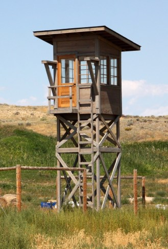 The internment camp at Heart Mountain was surrounded by barbed wire and watched over by guards. (Bob Sessions photo)