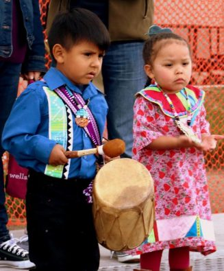 Indian children, Indian boy playing drum