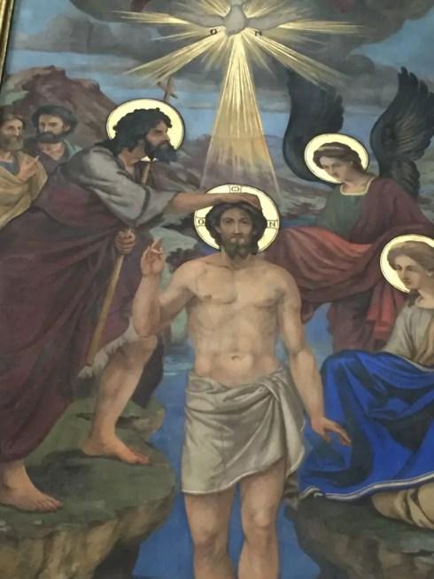 Halos glow in an icon in Holy Trinity Greek Orthodox Church in Vienna (Lori Erickson photo)