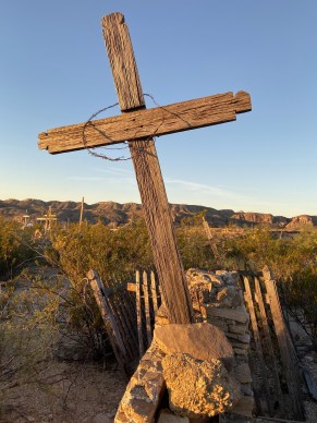 homemade cross in Terlingua, Texas, cemetery