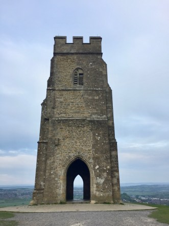tower on top of Glastonbury Tor, tall tower, tall stone tower