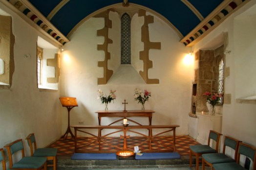 interior of small chapel, small English chapel, medieval restored chapel