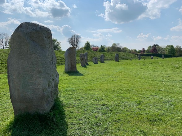 Stone circle, stone prehistoric site, standing stones with shadows