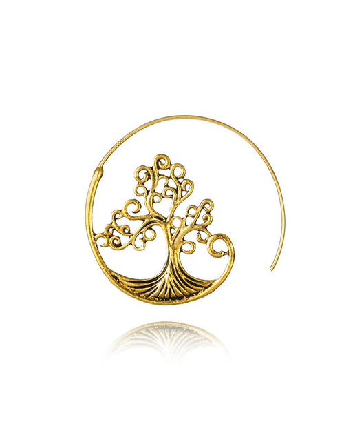 Goud-kleurig-Tree-of-Life-Rond-doorlopende-Oorbellen