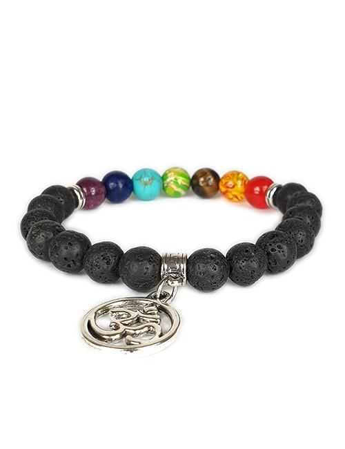 Om mantra 7 chakra's lavasteen armband
