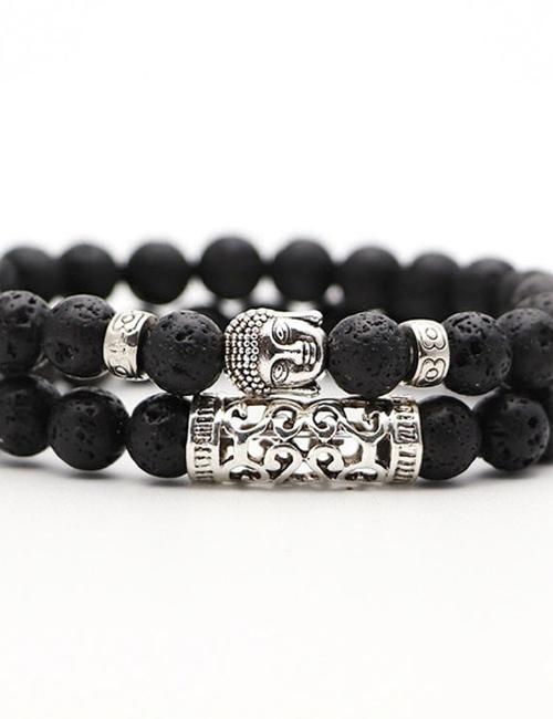 Set van twee Boeddhistische Lavasteen armbanden