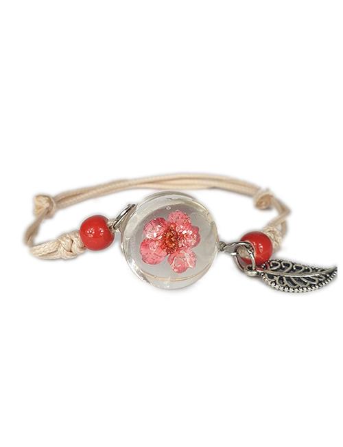 Rood koekruid in glas Lieflijkheid armband