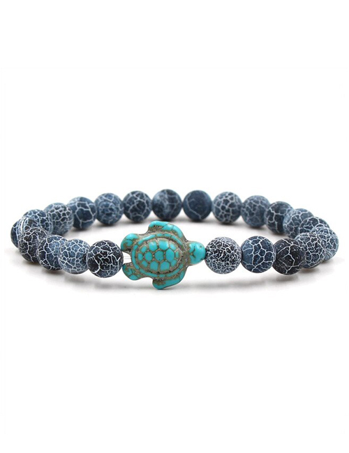 Boeddhistische frosted agaat schildpad armband
