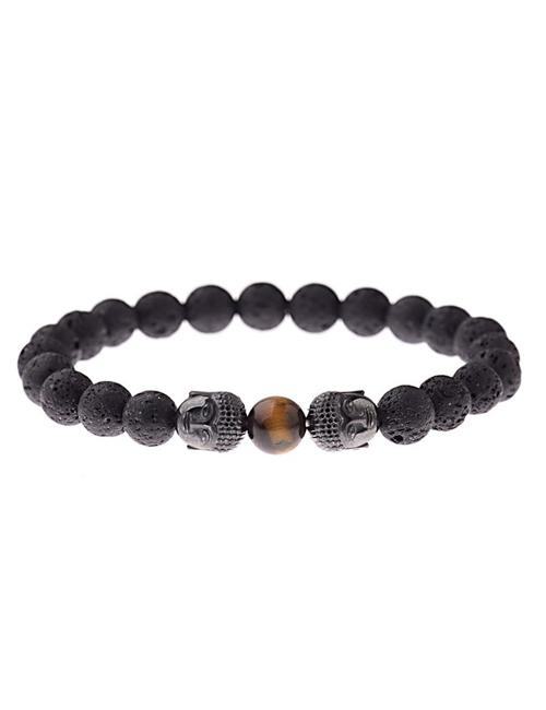 Dubbele Boeddha Lavasteen tijgeroog armband