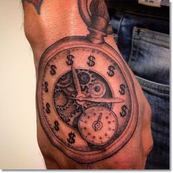 Clock Hand Tattoo Designs