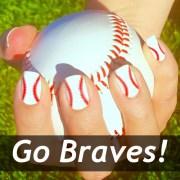 atlanta braves baseball nail art