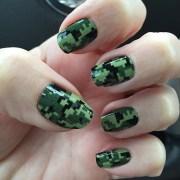 army green digital camouflage nail