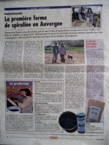 Coupure presse sur la première ferme de spiruline en Auvergne