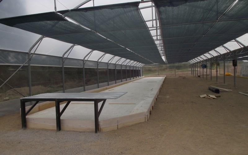 installation de la table de récolte du premier bassin