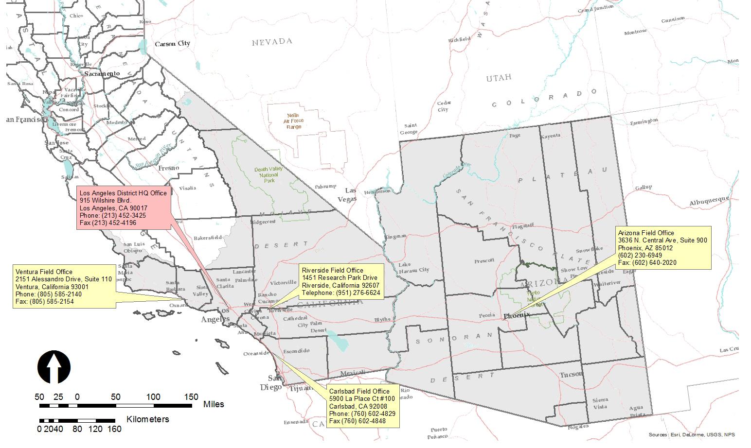 Los Angeles District Gt Missions Gt Regulatory Gt District Boundaries Map