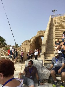 Caesarea steps going up at Roman amphitheater