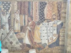 Mosaic on wall of Byzantine Street in Jewish Quarter