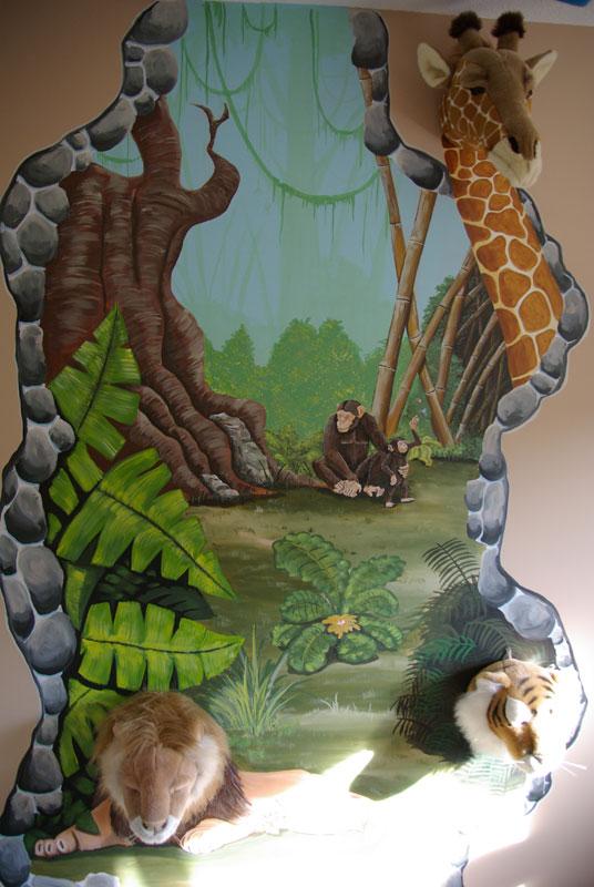 Muurschildering Jungle Kamer met knuffeldieren