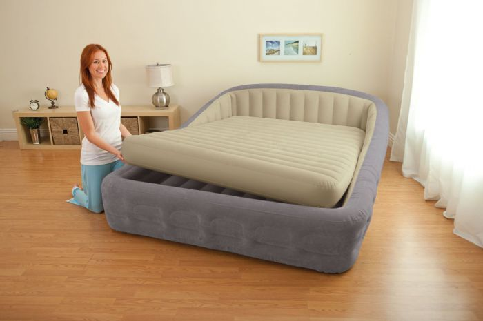 Intex Queen Size Comfort Frame Air Bed With Hand Held AC