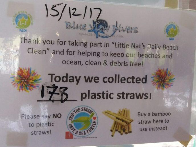 Vandaag hebben we 173 plastic rietjes verzameld