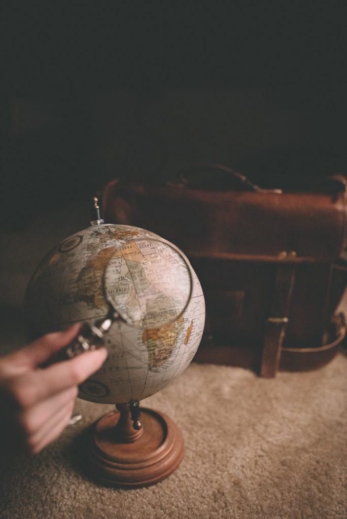La Gomera showed with a loop on a globe earth