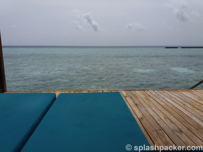 view from water villa in the Maldives