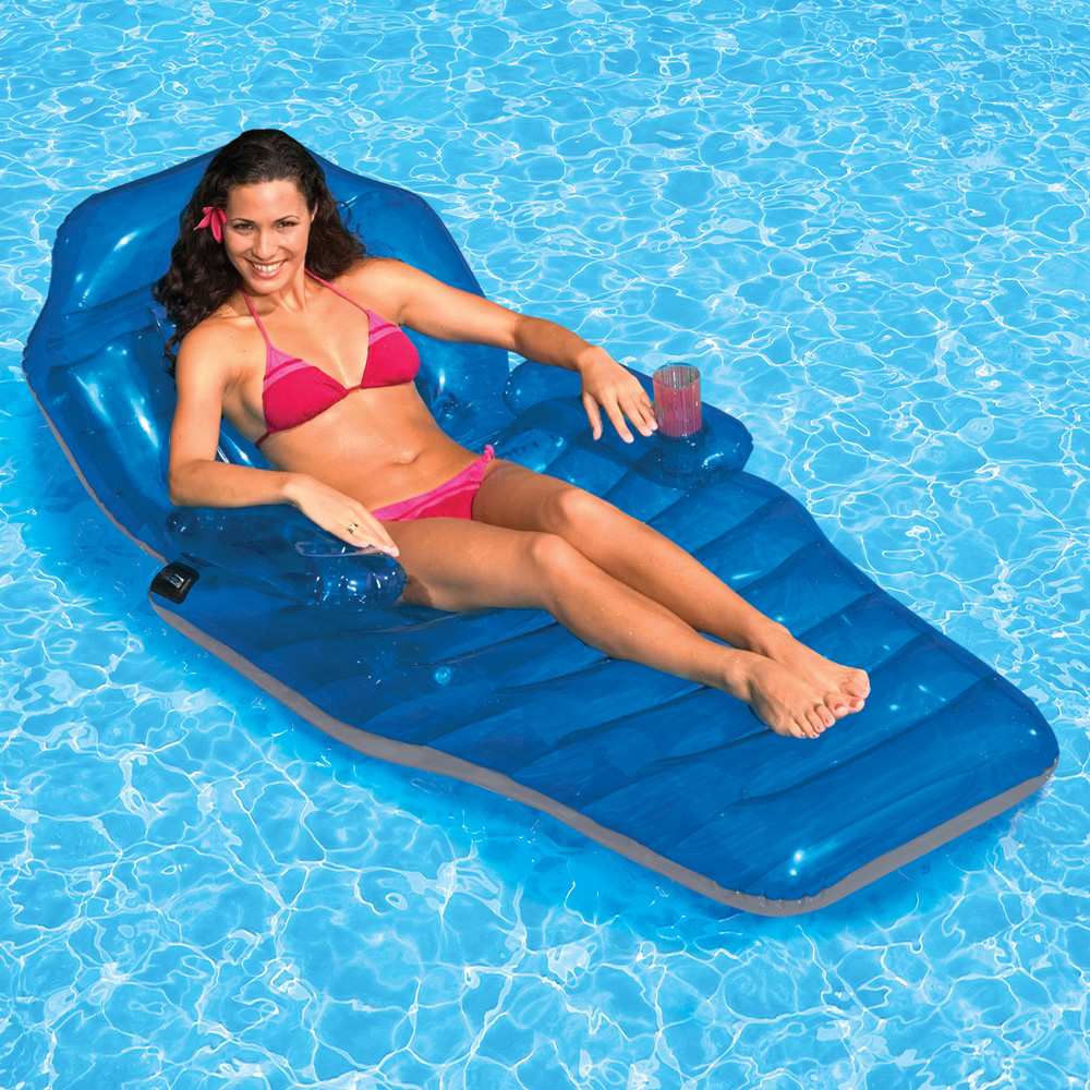 inflatable chair with cup holder best stadium poolmaster adjustable chaise floating lounge