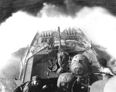 SC 648 plows into heavy seas.