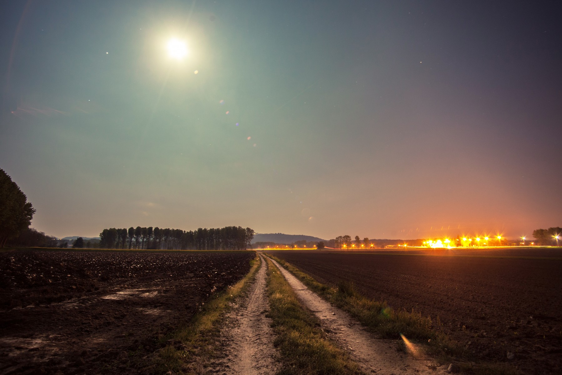Happy Lonely Girl Wallpaper Road Illuminated By Moon Splitshire