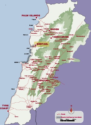 Bentael Forest Nature Reserve Map Lebanon