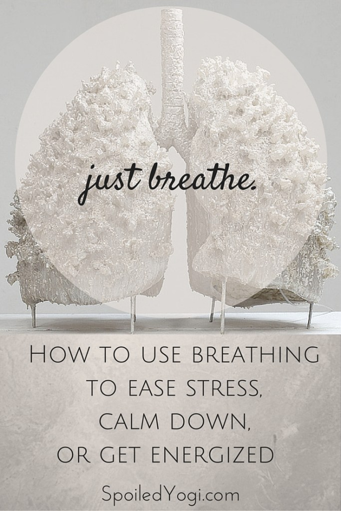 Easy ways to use yoga breathing, or pranayama, to relieve stress, calm down, or get energized. | Spoiledyogi.com