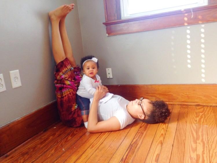 Legs-Up-the-Wall Pose Modified with Baby | Viparita Karani | SpoiledYogi.com