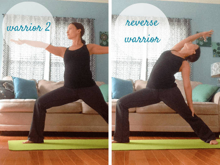 Warrior Flow | Warrior 2 to Reverse Warrior Pose | Downward Facing Dog | Best Yoga Poses for the Second Trimester | SpoiledYogi.com
