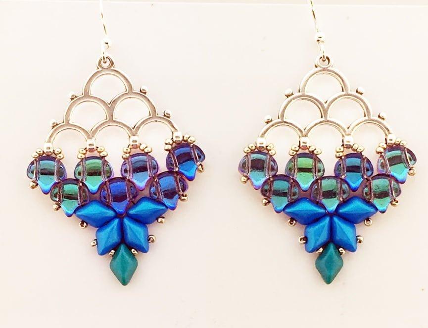 mermaid earring pattern printed