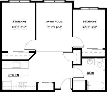 2 Bed / 1 Bath / 759 - 838 ft² / Rent from: $1,078 - $1,303