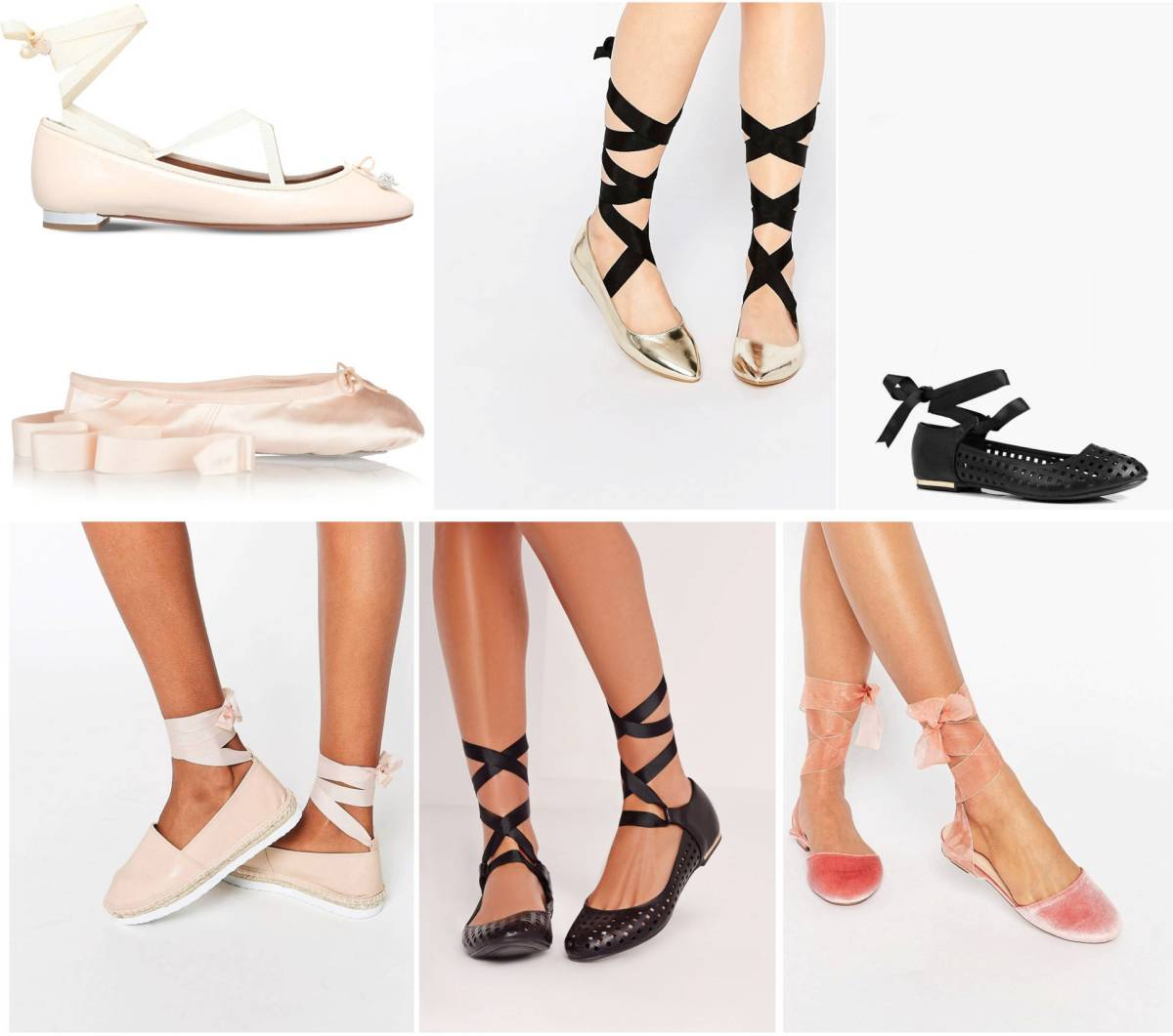 Top 7 ribbon tie ballet pumps
