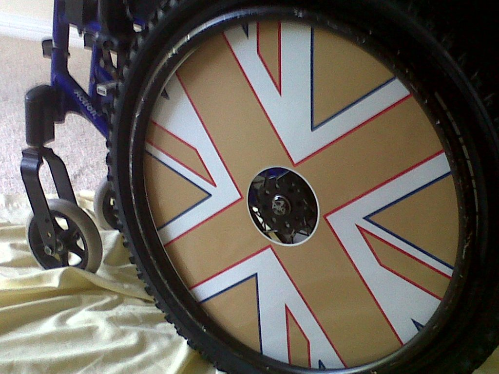 Gold Union Jack Wheelchair Wheel Covers SpkeGuards