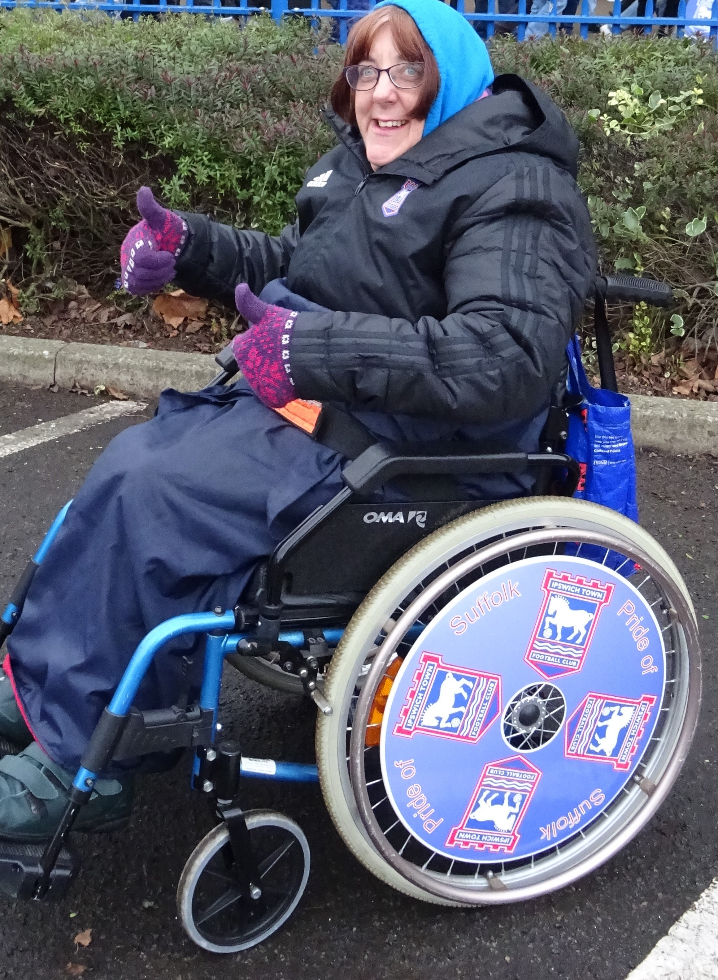 Louise with Ipswich Town SpokeGuards wheel covers