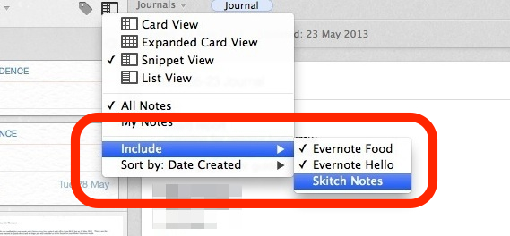 Filter out Skitch from Evernote