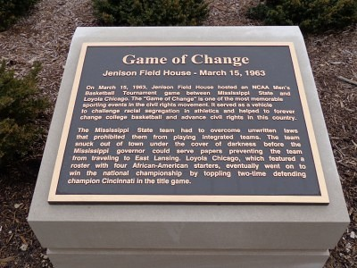 Plaque commemorating the Game of Change at Jenison Field House in East Lansing, Mich. Photo by Charles Hallman