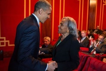 President Obama pays respects to Jackie Robinson's widow, Rachel Robinson. Photo courtesy of the White House